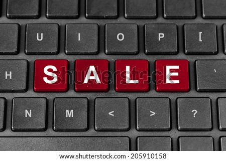 sale red word on keyboard, business concept - stock photo