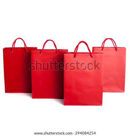 Sale shopping bag set isolated on white - stock photo