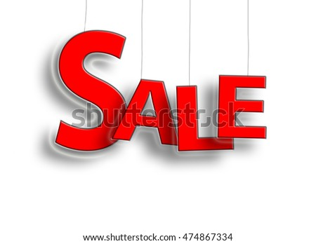 Sale sign hanging in red with a white background