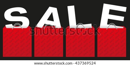 Sale Sign - Illustration of Red Shopping Bags With Letters on Black Background