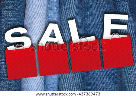Sale Sign - Illustration of Red Shopping Bags With Letters on the Blue Jeans Background