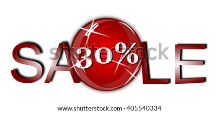 Sale sign on white background.