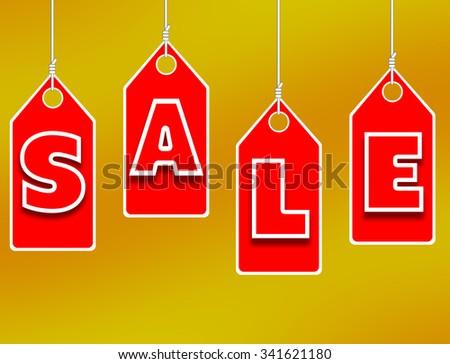 Sale sign over a yellow background. - stock photo