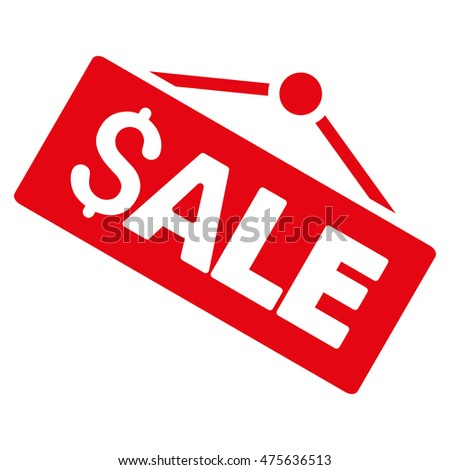 Sale Signboard icon. Glyph style is flat iconic symbol with rounded angles, red color, white background.