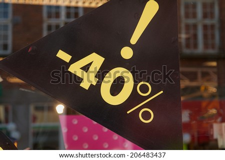 Sale special offer discount seasonal sign 40 percent off the price