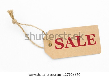 Sale tag, brown label isolated over white background   - stock photo
