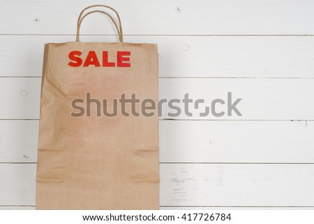 Sale Tag, Paper Bag Design Templates. Copy space for text. - stock photo