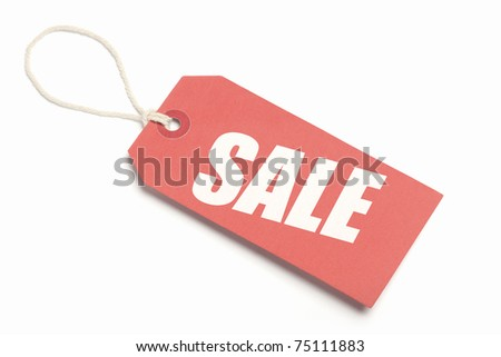 Sale Tag, red cardboard with string loop. Isolated on white. - stock photo