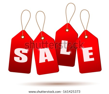 Sale tags. Concept of discount shopping. Raster version