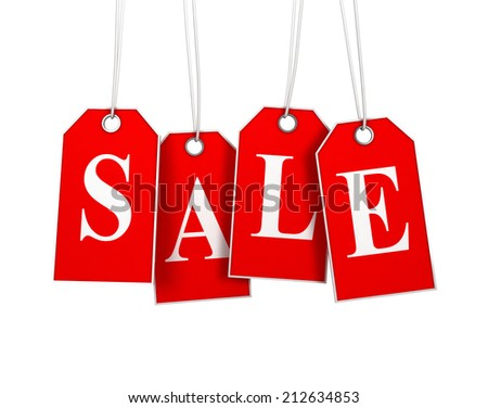 Sale tags. 3d illustration isolated on white background