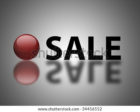 Sale text with red sphere. Elements with reflection over gray background