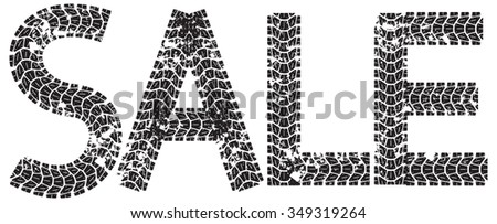 Sale text with the letters made from motorcycle tire tracks, isolated on white