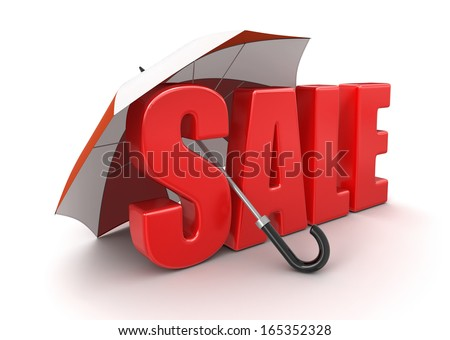 Sale under Umbrella (clipping path included)