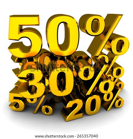 Sale, various percents (gold colour, done in 3d)