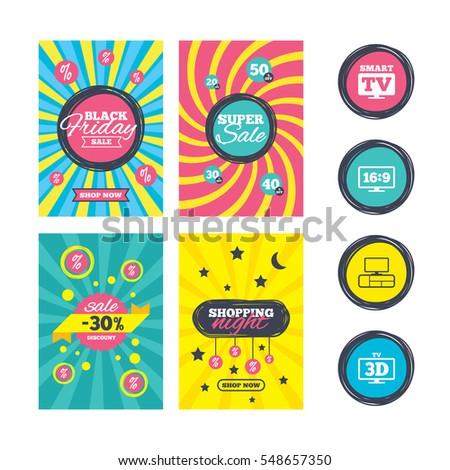 Sale Website Banner Templates Smart Tv Stock Vector 519590503