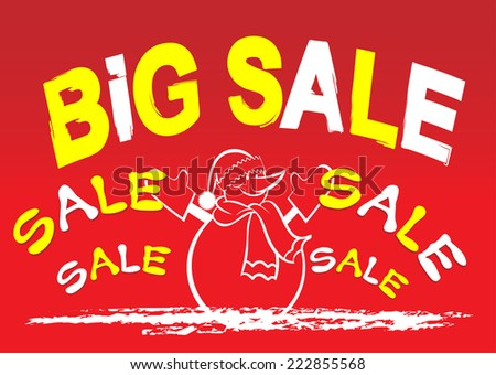 Sale, Winter sale, Christmas sale, Sale banner, Sale tag, Big sale, Sale sign, Sale text, Snowman