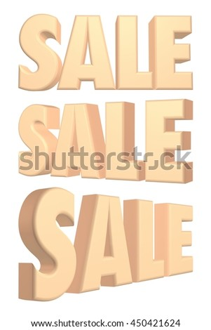 SALE word in 3d rendered on white background.