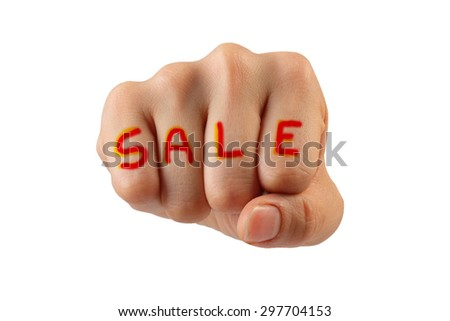 Sale word in hand isolated on white background with clipping path