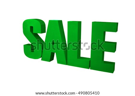 SALE word isolated on white with path.