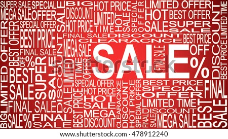 Sale words. Sales promotional. Store Sale concept.
