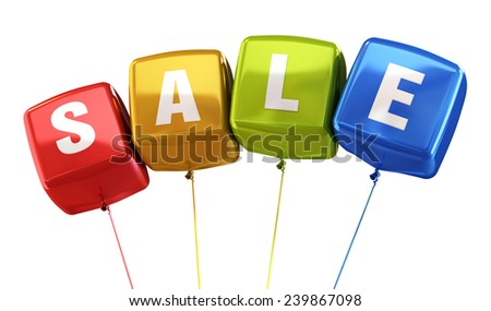 Sale Writing Colorful cube balloons render (isolated on white and clipping path)