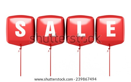 Sale writing Red cube balloons render (isolated on white and clipping path) - stock photo
