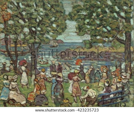 Salem Cove, by Maurice Brazil Prendergast, 1916, American painting, oil on canvas. In 1907 he returned to Paris and discovered Cezanne and the Fauves. Integrating these new influences into his work,