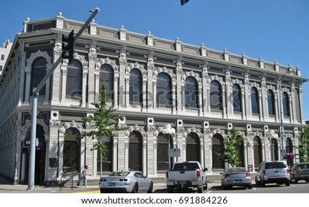 Salem, Oregon USA - July 26, 2017: Historic Ladd and Bush bank building, 1868, 302 State Street, Italianate Beaux Arts style, now a U.S. Bank branch