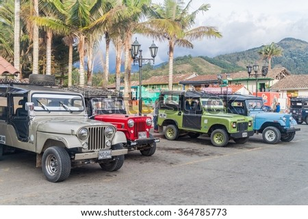 SALENTO, COLOMBIA - SEPTEMBER 7, 2015: Old Jeeps are an important part of rural transportation in Colombia.