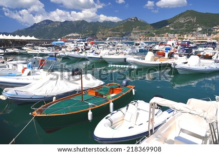 SALERNO, ITALY - AUGUST 17, 2014: Picturesque view of marina in Salerno, Italy. Salerno was founded in 197 BC and is located on the Gulf of Salerno on the Tyrrhenian Sea