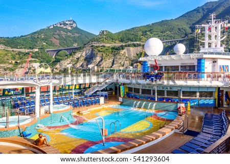 SALERNO, ITALY - JUNE 11, 2016: Cruise ship anchored in the port of Salerno, along the Amalfi Coastline in Italy.