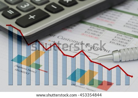 Sales and financial business report and decrease graph