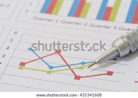 Sales and financial business report, pencil
