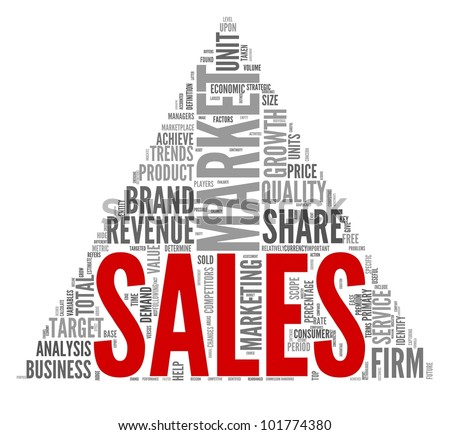 Sales and market concept in word tag cloud on white - stock photo