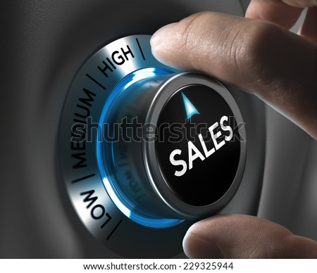 Sales button pointing the highest position with two fingers, blue and grey tones, Conceptual image for sales strategy or performance - stock photo