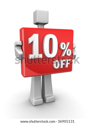 Sales concept a man showing 10 percent off signboard 3d illustration - stock photo