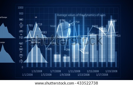 Sales dynamics data .3D render - stock photo