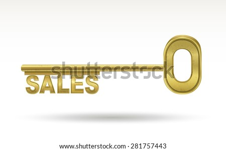 sales - golden key isolated on white background