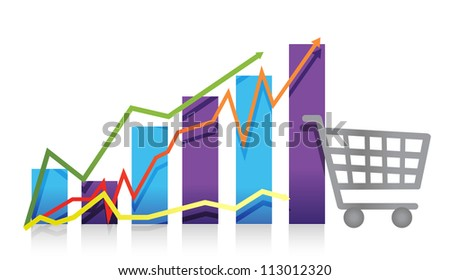 Sales growth business chart shopping cart illustration - stock photo