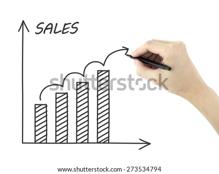 sales growth graph drawn by man's hand isolated on white background - stock photo