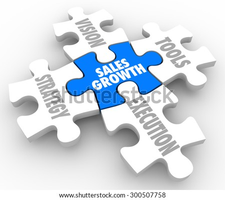 Sales Growth puzzle pieces with Vision, Strategy, Tools and Execution connecting to achieve success and complete the picture of reaching a selling mission or objective - stock photo