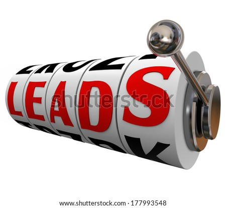 Sales Leads Slot Machine Dial Word New Customers - stock photo