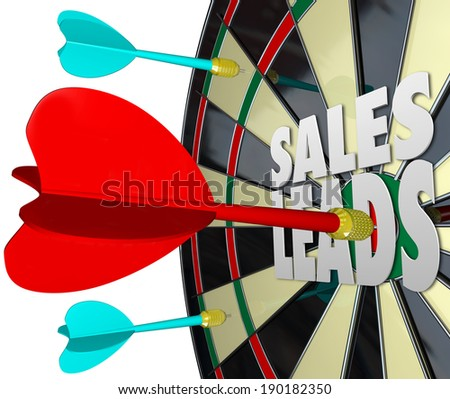 Sales Leads Words Dart Board Selling Customers Prospects - stock photo