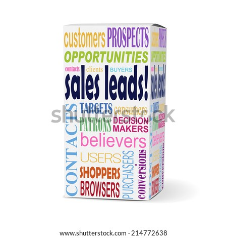 sales leads words on product box with related phrases - stock photo