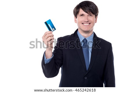 Sales manager holding debit card