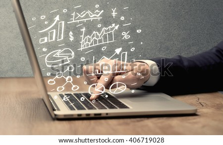Sales person in suit using a laptop to calculate pie chart and exponential growth statistics on office desk concept - stock photo