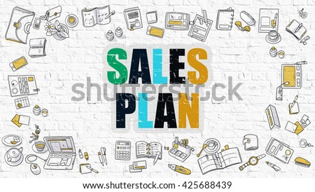 Sales Plan Concept Modern Line Style Stock Illustration