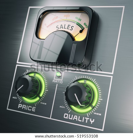 Sales price quality ratio control marketing concept. Maximum sales at high quality and low price switches. 3d illustration
