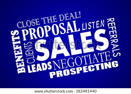 Sales Process Negotiation Leads Prospects Animated Word Collage - stock photo