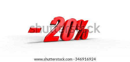 Sales promotion twenty percent off in 3D RED TEXT
